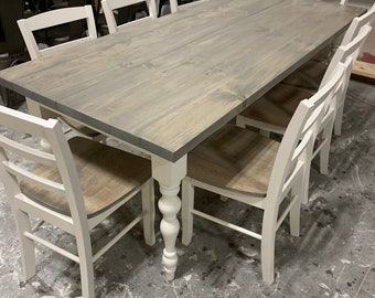 7ft Rustic Farmhouse Table with Turned Legs, Chair Set Classic Gray Top and Antique White Base, Wooden Dining Table Seamless Top