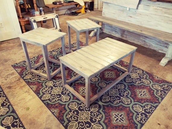 Rustic Farmhouse Living Room Set, Gray White Wash Top, Gray base, Wooden  End Tables and Coffee Table Living Room Set