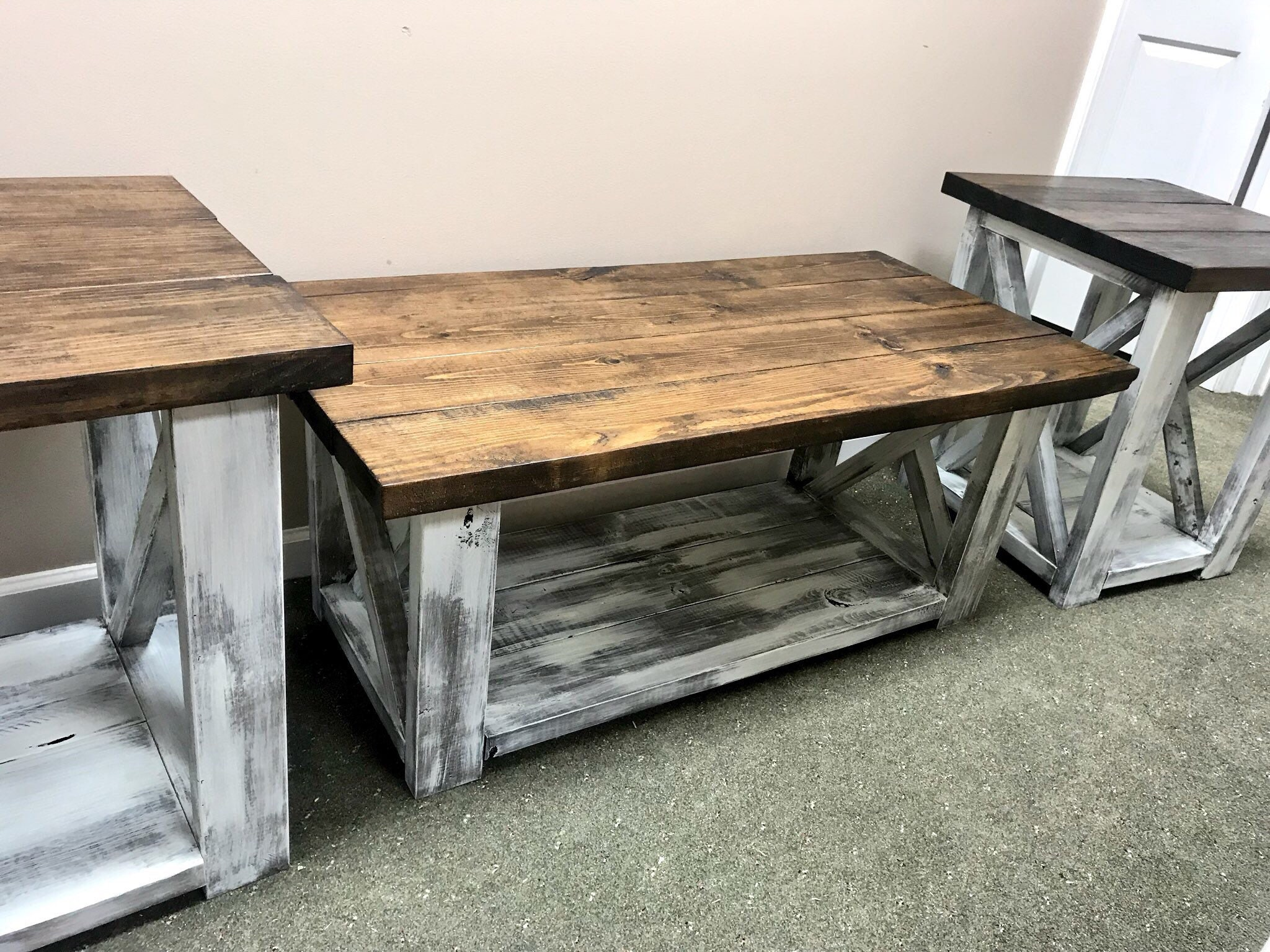 Farmhouse Living Room Set End Tables Set And Coffee Table