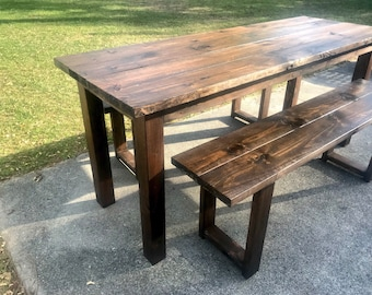 Tall Rustic 7ft Farmhouse Table with Tall Benches, Bar Height Dining Set, Counter Height Table Set, Dark Walnut Narrow Farmhouse Table
