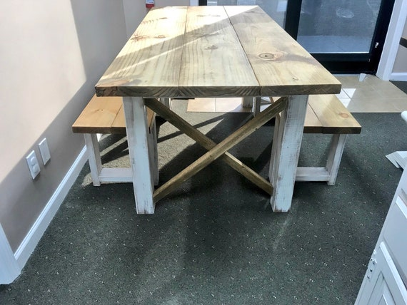Strange Rustic Farmhouse Table With Benches With Light Walnut Top And Weathered White Distressed Base And Cross Brace Design Machost Co Dining Chair Design Ideas Machostcouk