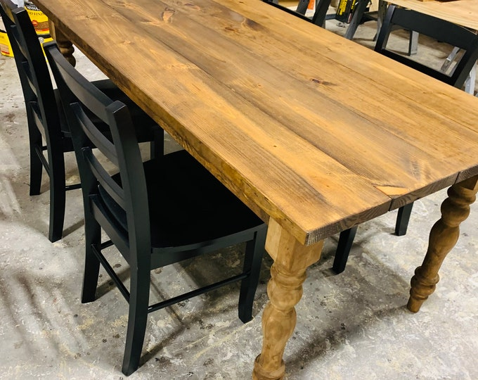Rustic Farmhouse Table with Turned Legs, Black Chairs, Provincial Brown Stain Finish, Dining Set with Wooden Ladder Back Chairs