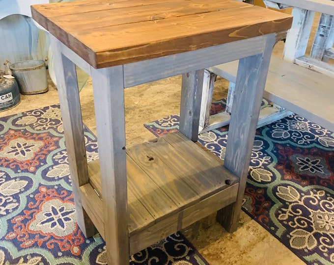 Small Rustic Console Table, Farmhouse Entryway Table with Provincial Top and Gray Base, Handmade Wood Buffet