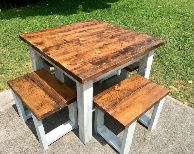 Square Small Farmhouse Table, Rustic Table, Small Dining Set with Stools, Table with Short Benches, Provincial Top, Distressed Base