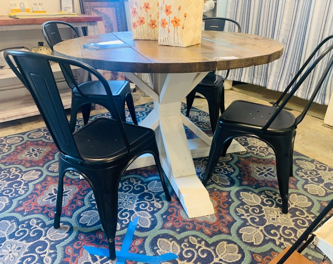 Round Rustic Farmhouse Table with Metal Chairs, Single Pedestal  Style Base, Provincial Top with White Base, Small Wooden Dining Set