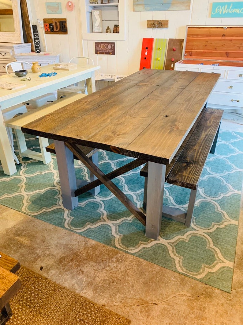 7ft Rustic Farmhouse Table With Benches Dark Walnut Top With Weather Gray Base Wooden Kitchen Table X Criss Cross Style Dining Set