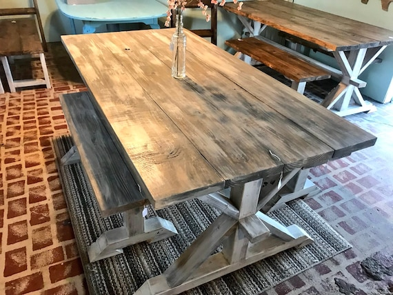 Rustic Pedestal Farmhouse Table With Benches Gray White Wash Etsy