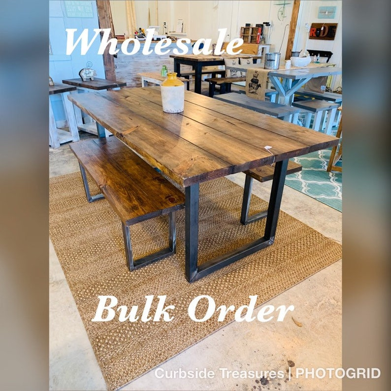 Wholesale Farmhouse Table Sets, Bulk Industrial Farmhouse Tables for  Restaurants or Resale, Dining Set with Two Benches