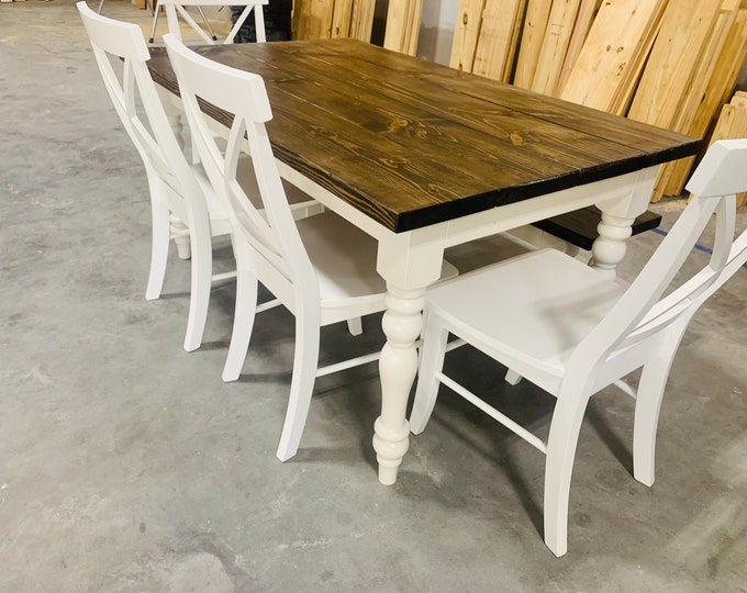 5ft Rustic Farmhouse Table with Turned Legs, Bench and Chair Set Dark Walnut Top and Antique White Base, Wooden Dining Table