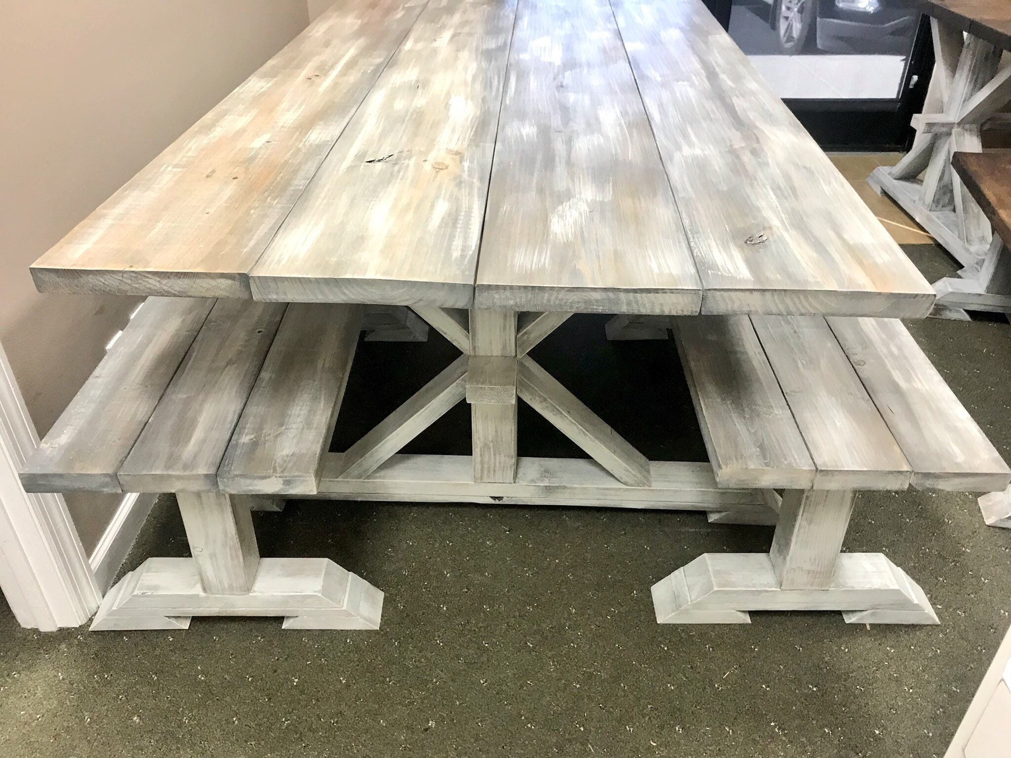 Rustic Long Pedestal Farmhouse Table With Benches Gray White Wash