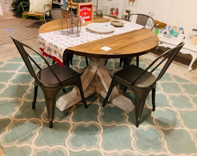Round Rustic Farmhouse Table Set with Chairs, Single Pedestal  Style Base, Provincial Brown Top with Gray Base, Small Wooden Dining Table