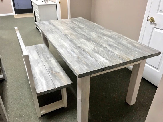 Strange White Wash Farmhouse Table With Bench With Back Rustic Wooden Gray White Wash Top And Creamy White Distressed Base Dining Or Kitcen Table Beatyapartments Chair Design Images Beatyapartmentscom