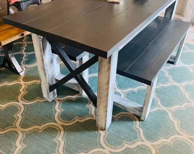 Rustic Wooden Farmhouse Table Set with Carbon Gray Top and Distressed White Base Cross Style Includes Two Benches