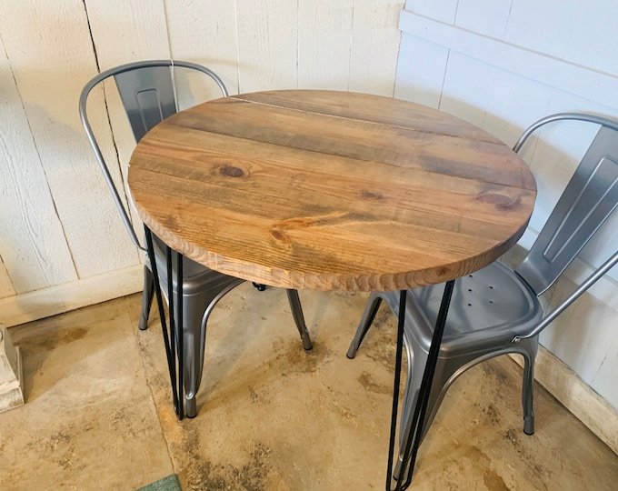 Small Farmhouse Nook Dining Table Set with Chairs, Industrial Style, Provincial Brown Top and Black Hairpin Legs, , Kitchen Table, Wooden