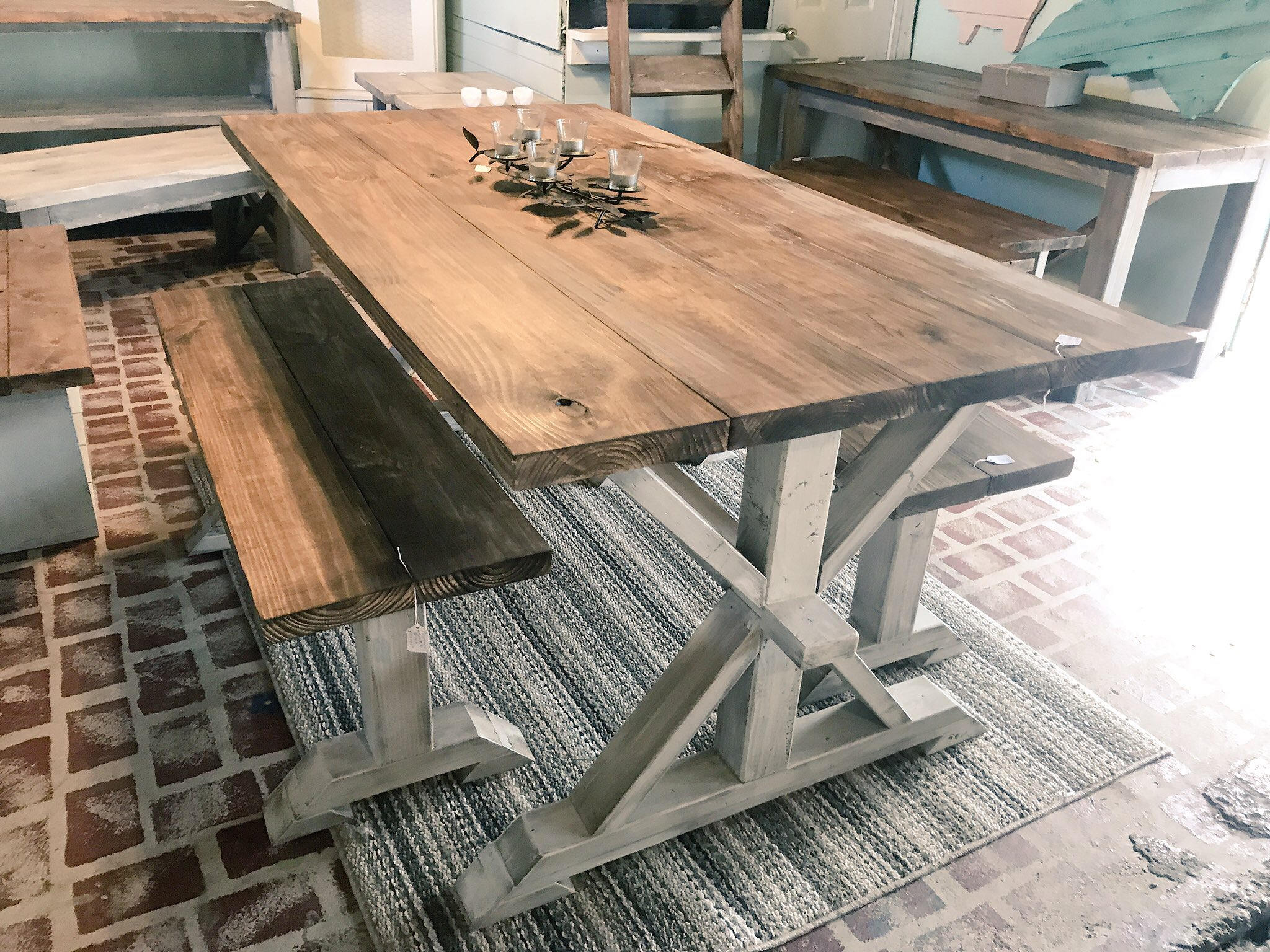 Rustic Pedestal Farmhouse Table With Benches Provincial Brown With - Farmhouse table with white base