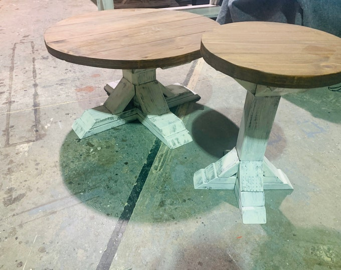Round Farmhouse Rustic Coffee Table and End Table With Pedestal Base, Distressed White Base With Provincial Top Living Room Set