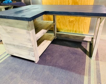 Rustic Farmhouse Left Return Desk with Storage, L Desk with Navy Blue top and White Distressed Base, Wooden Office Desk with Shelving