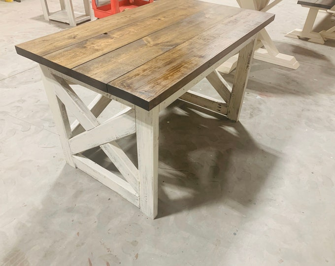 Rustic Farmhouse Desk with A Dark Walnut Top and White Distressed Base, X Style Accents, 4ft Desk, Deep Office Desk