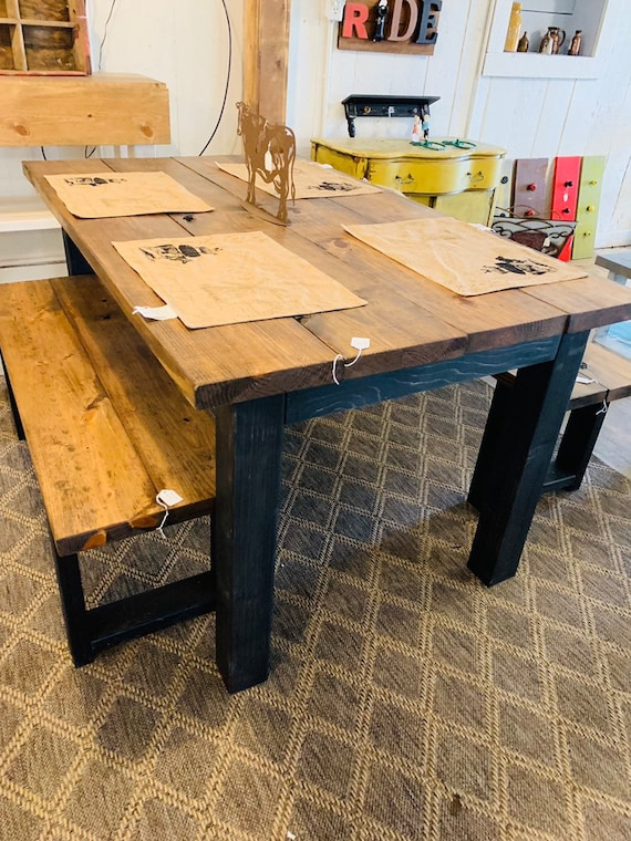 Small Modern Farmhouse Table 5ft With Benches Black Legs And Etsy
