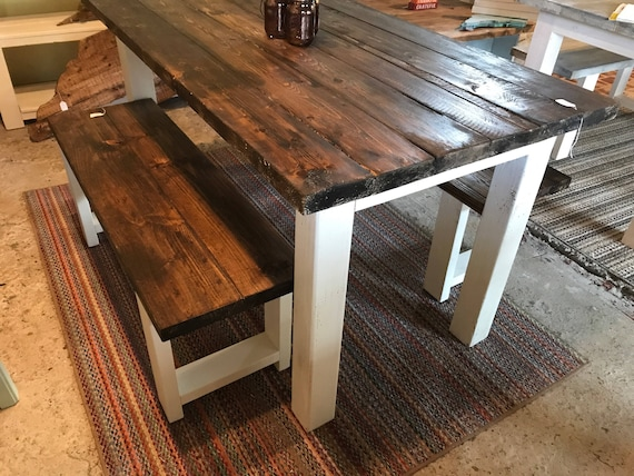 Sensational Small Farmhouse Table Rustic Farmhouse Table With Benches Espresso Dining Set With White Base 5Ft Table And Benches Machost Co Dining Chair Design Ideas Machostcouk