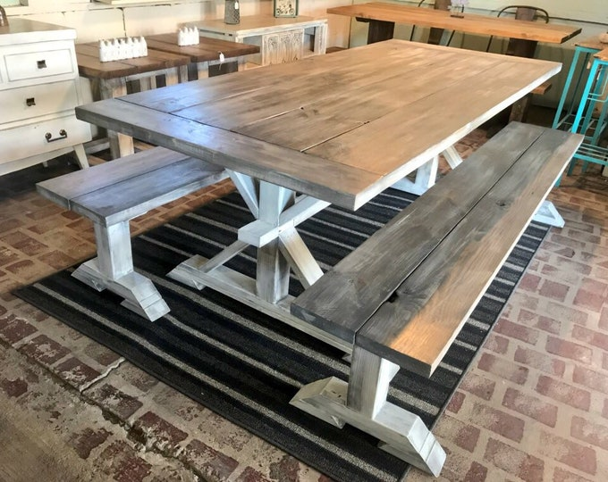 7ft Rustic Farmhouse Table Set With Long Benches and Breadboards, Gray White Wash Finish and Distressed White Base Wooden Dining Set