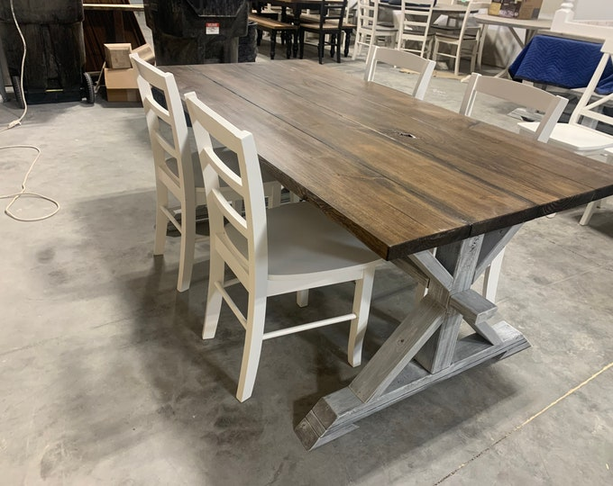 Rustic Pedestal Farmhouse Table and Chairs With White Dark Walnut Brown with White Distressed Base Dining Set In Stock