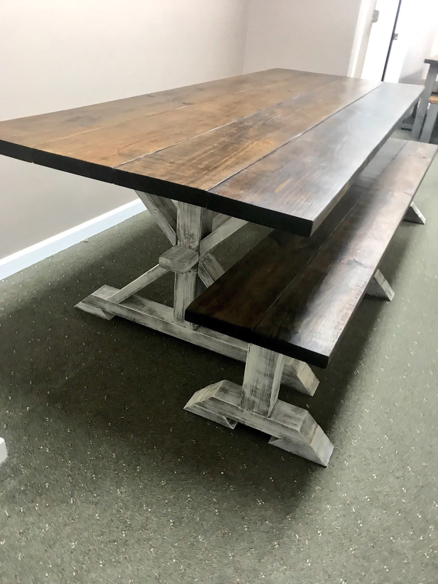 9ft Rustic Farmhouse Table with Long Bench, Banquet Table, Large