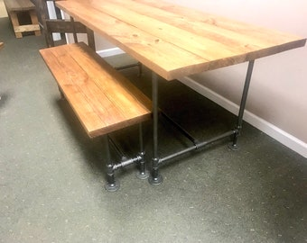 Industrial Style Farmhouse Table with BenchBlack Iron Pipe Base and Legs Wooden Stained Walnut Top Industrial Rustic Dining Set