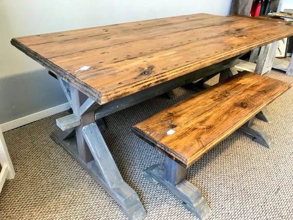 Cool Rustic Pedestal Farmhouse Table With Benches Provincial Brown With White Gray Base Trestle Style Dining Set Machost Co Dining Chair Design Ideas Machostcouk