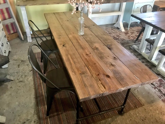 Industrial Style Farmhouse Table With Bench And Metal Chairs Black Pipe  Base And Legs Wooden Stained Walnut Top Rustic Dining Set
