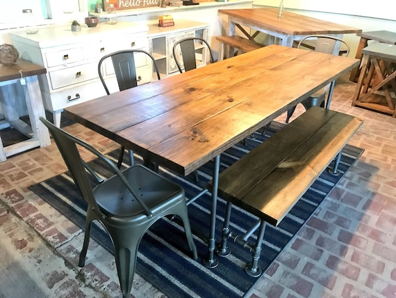 Miraculous Industrial Style Farmhouse Table With Bench And Metal Chairs Black Pipe Base And Legs Wooden Stained Walnut Top Rustic Dining Set Theyellowbook Wood Chair Design Ideas Theyellowbookinfo