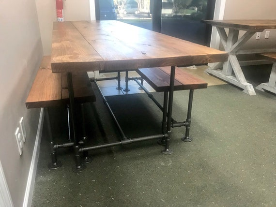 Magnificent Industrial Style Farmhouse Table With Benches Black Iron Pipe Base And Legs Wooden Stained Walnut Top Industrial Rustic Dining Set Theyellowbook Wood Chair Design Ideas Theyellowbookinfo