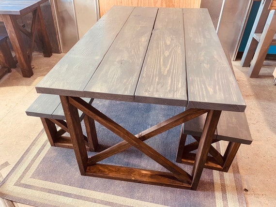 Rustic Small Farmhouse Table With Benches With Charcoal Etsy