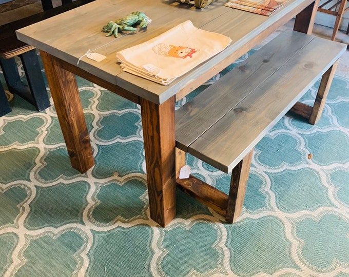 Rustic Wooden Farmhouse Table Set with Classic Gray Top and Provincial Base Criss Includes one bench Bench.  Dining Set