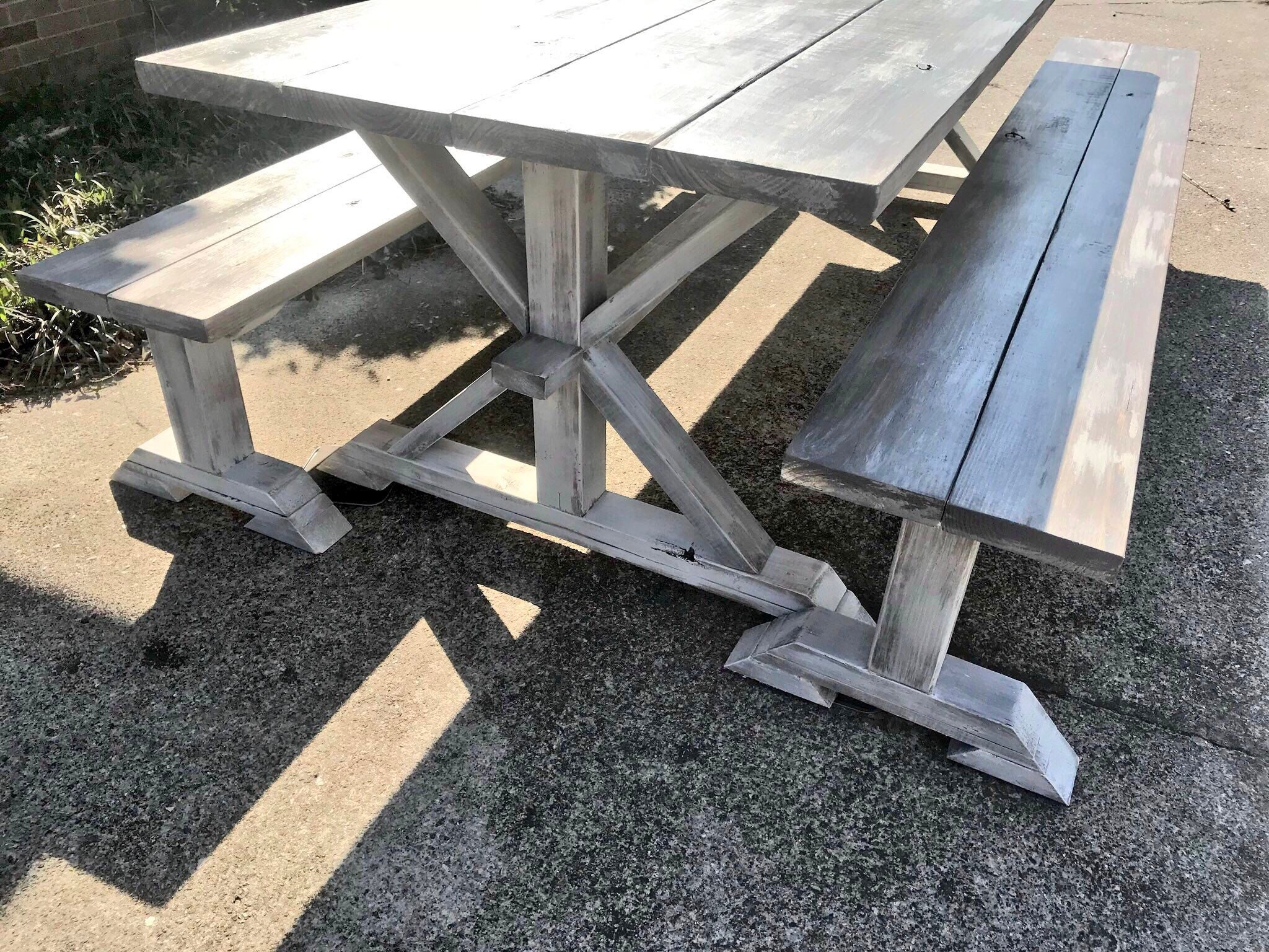 Strange 8Ft Rustic Farmhouse Table With Long Benches Banquet Table Machost Co Dining Chair Design Ideas Machostcouk