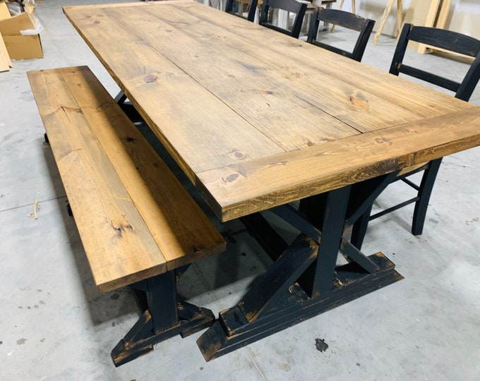 Rustic 8ft Long Pedestal Farmhouse Table Bench and Chairs Provincial with Black Base Dining Set and Kitchen Table with Breadboards