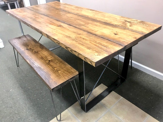 Magnificent Industrial Style Farmhouse Table With Benches With Hairpin Legs Flat Iron Table Base Provincial Stained Wooden Top Industrial Dining Set Forskolin Free Trial Chair Design Images Forskolin Free Trialorg