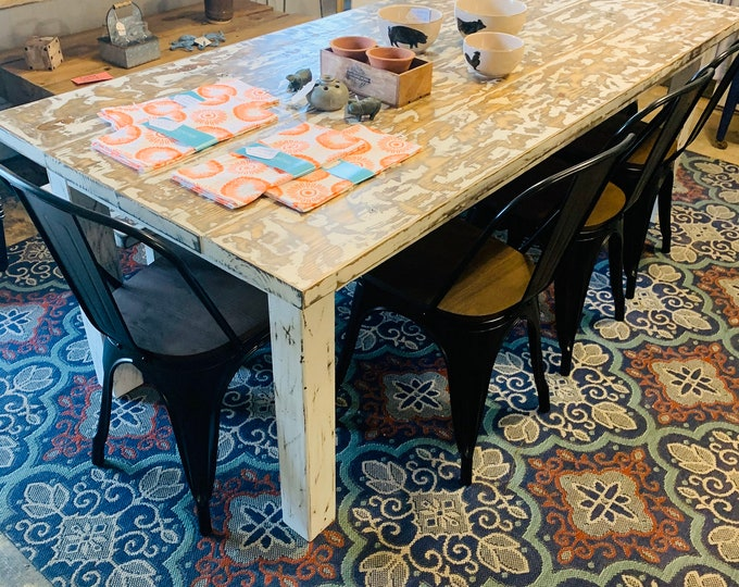 Rustic Farmhouse Table with Chairs and Bench, Weathered White Top with Distressed White Base, 7ft Dining Table, Wooden Kitchen Table Set