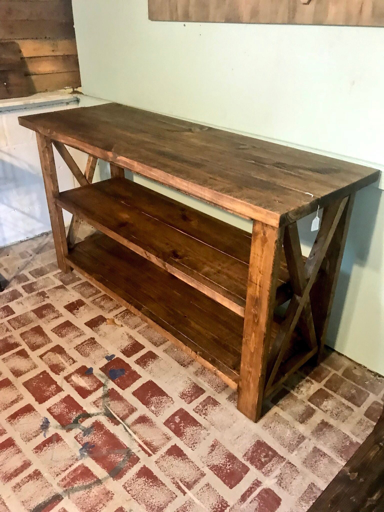 Rustic wooden buffet table rustic console table farmhouse buffet table brown walunt stain light walnut