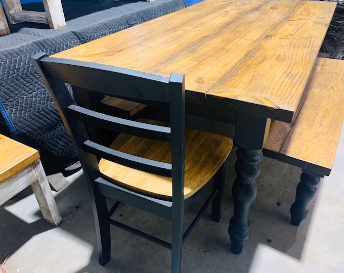Rustic Farmhouse Table Set with Turned Legs,Two Benches and Chairs m, Provincial Brown Top and  Black Painted Base Dining Set, Modern Design