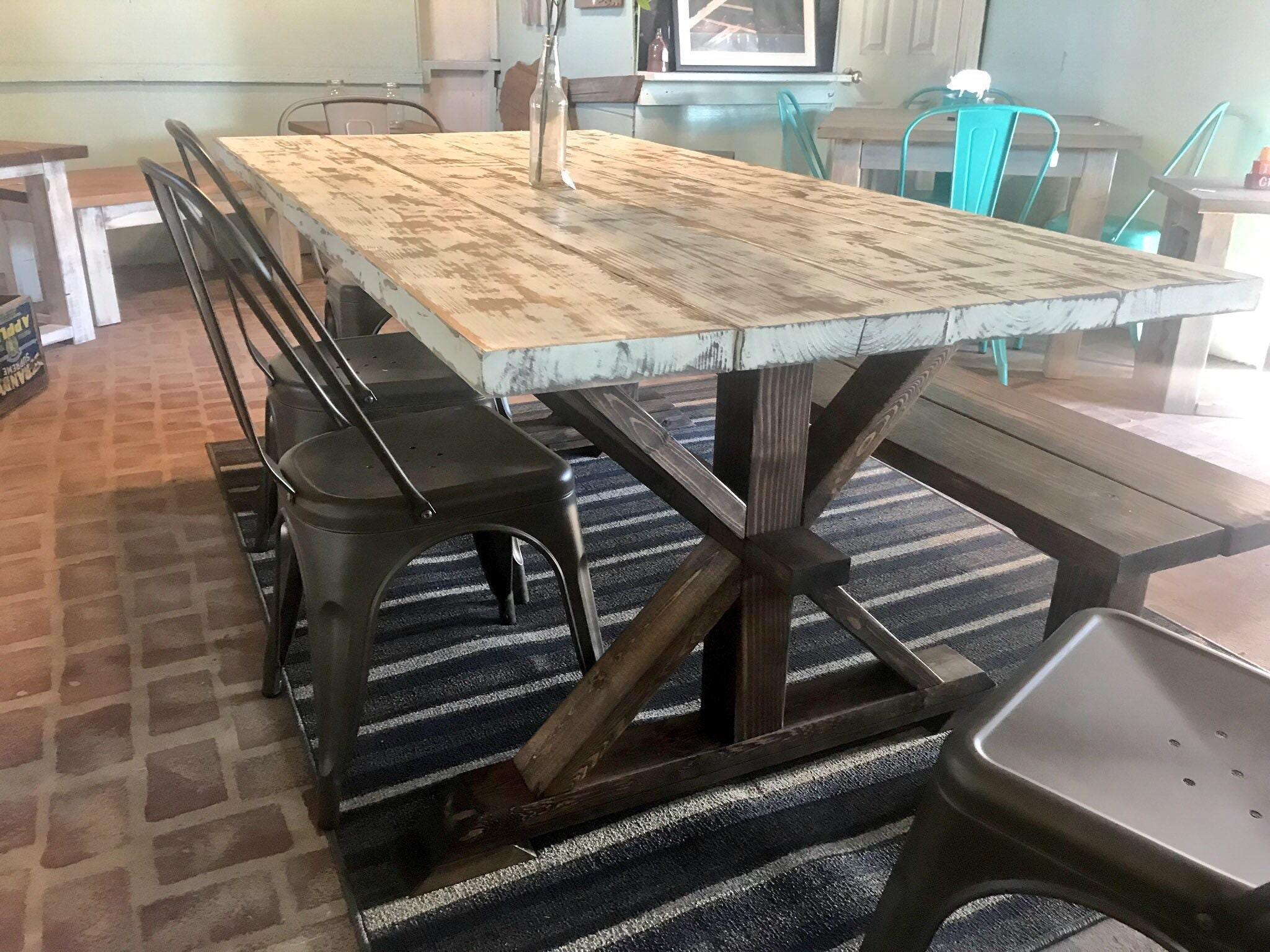 Fabulous Rustic Pedestal Farmhouse Wood Table Set With Long Bench And Gmtry Best Dining Table And Chair Ideas Images Gmtryco