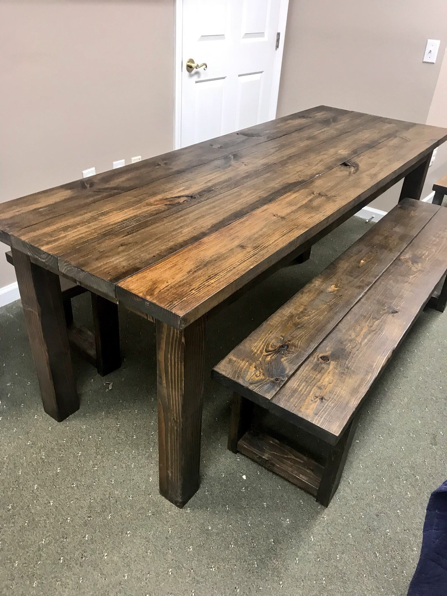 Rustic 7ft Farmhouse Table With Benches Brown Dining Set Table
