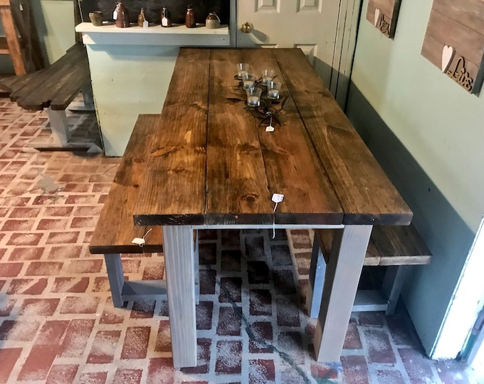 Rustic Wooden Farmhouse Table Set with Provincial Brown Top and Classic Gray Base Includes Two Benches Dining Set