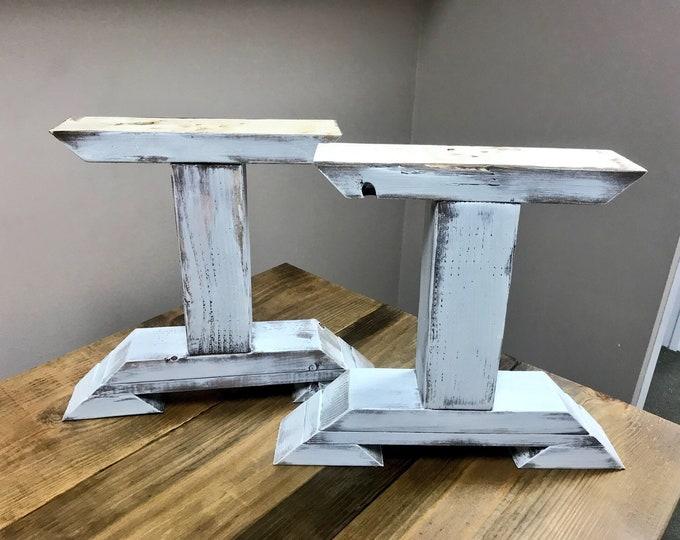 DIY Bench Leg Set, Antique White Distressed Trestle Style Wooden Bench Legs, Handmade Pedestal Legs, DIY Coffee Table, End Table Legs