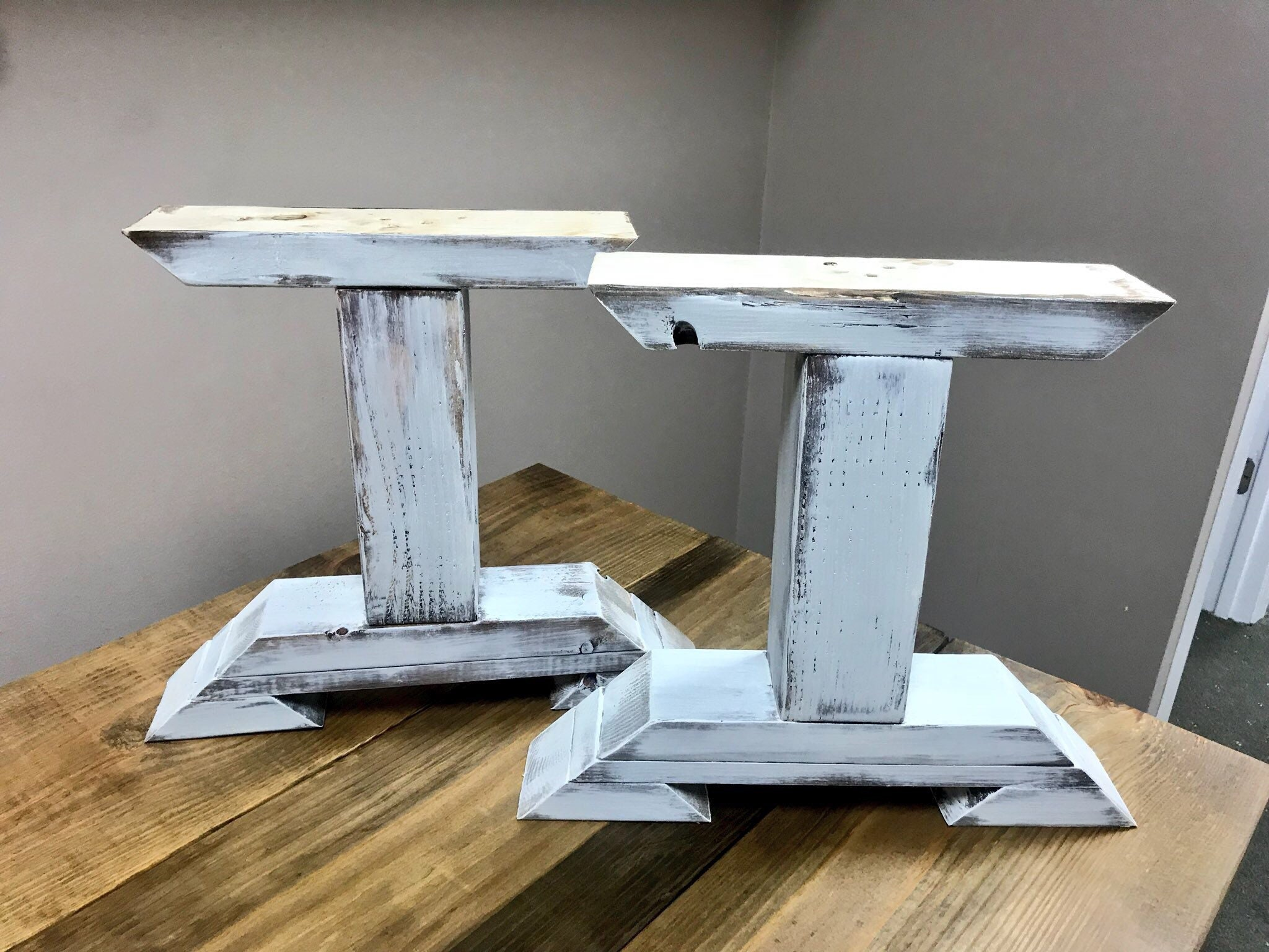 DIY Bench Leg Set, Antique White Distressed Trestle Style Wooden