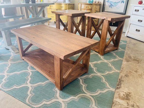 Farmhouse Living Room Set End Tables Set And Coffee Table Etsy