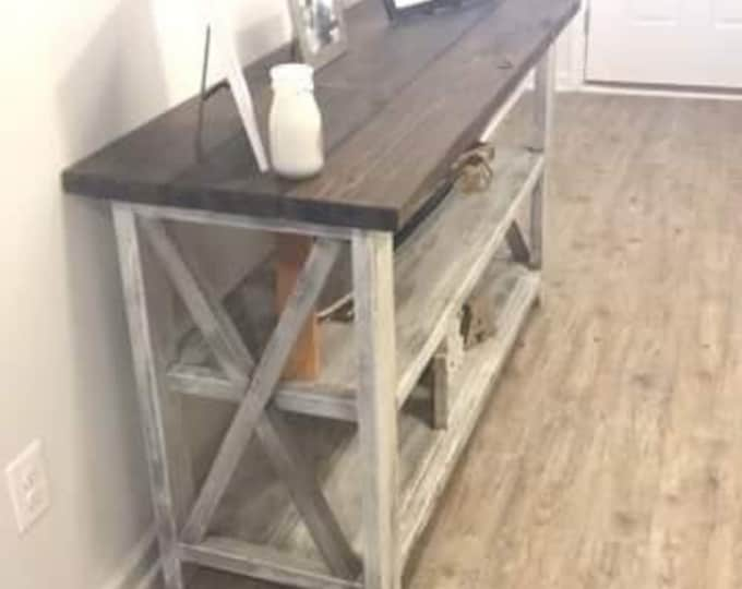 Rustic Wooden Buffet Table, Rustic Console Table, Farmhouse Buffet Table, White Wash with White Distressed Base and Dark Walnut Top