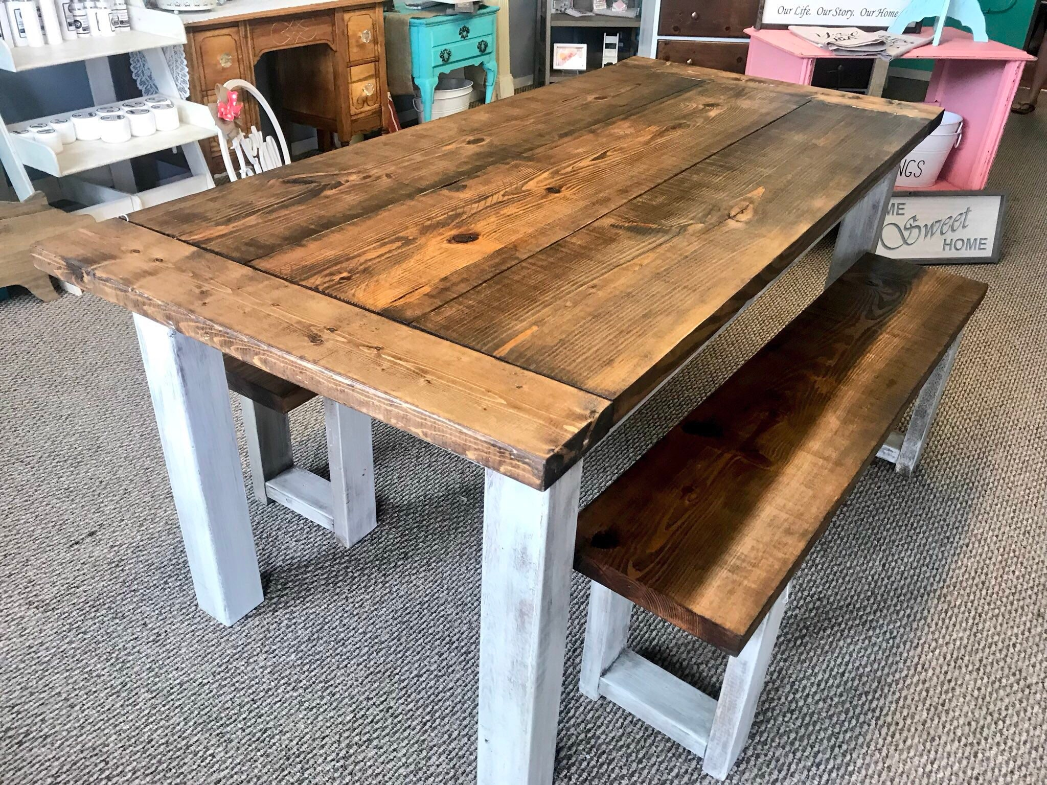 Rustic Wooden Farmhouse Table Set Breadboard Ends