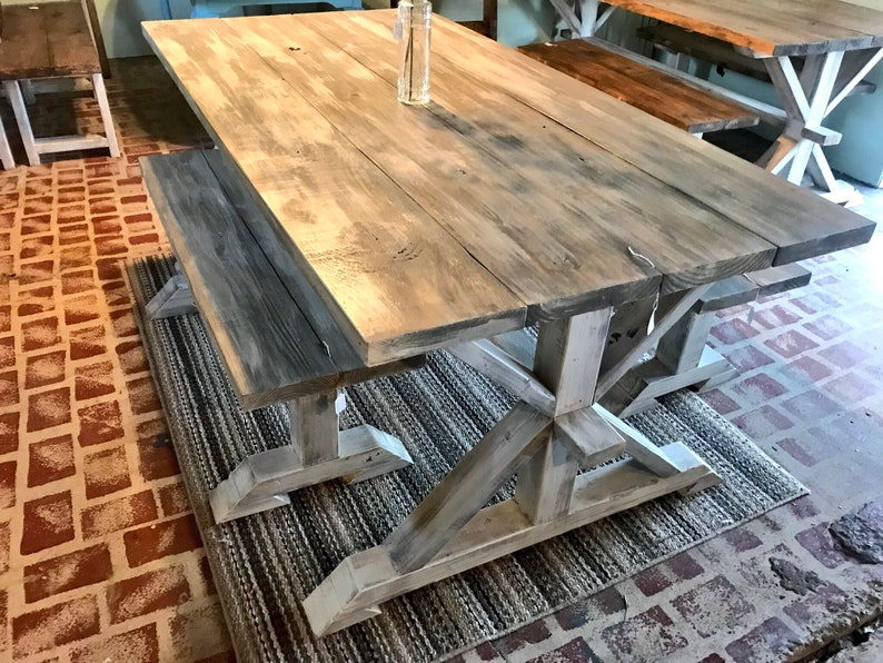 Rustic Pedestal Farmhouse Table With Benches Gray White Wash with White Distressed Base Dining Set