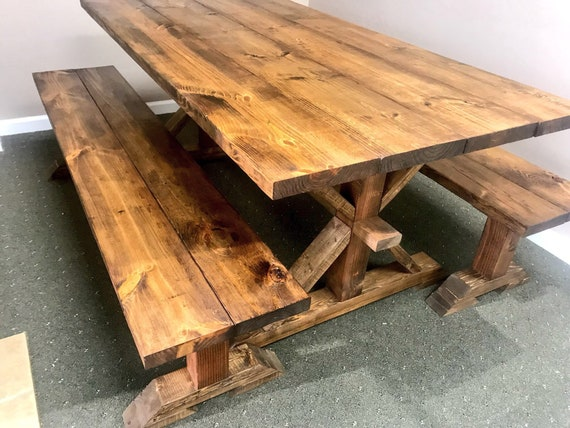 Pleasing Rustic 6Ft Pedestal Farmhouse Table With Long Benches Benches Provincial Brown Dining Set Brown Kitchen Table Wooden Table Set Gmtry Best Dining Table And Chair Ideas Images Gmtryco